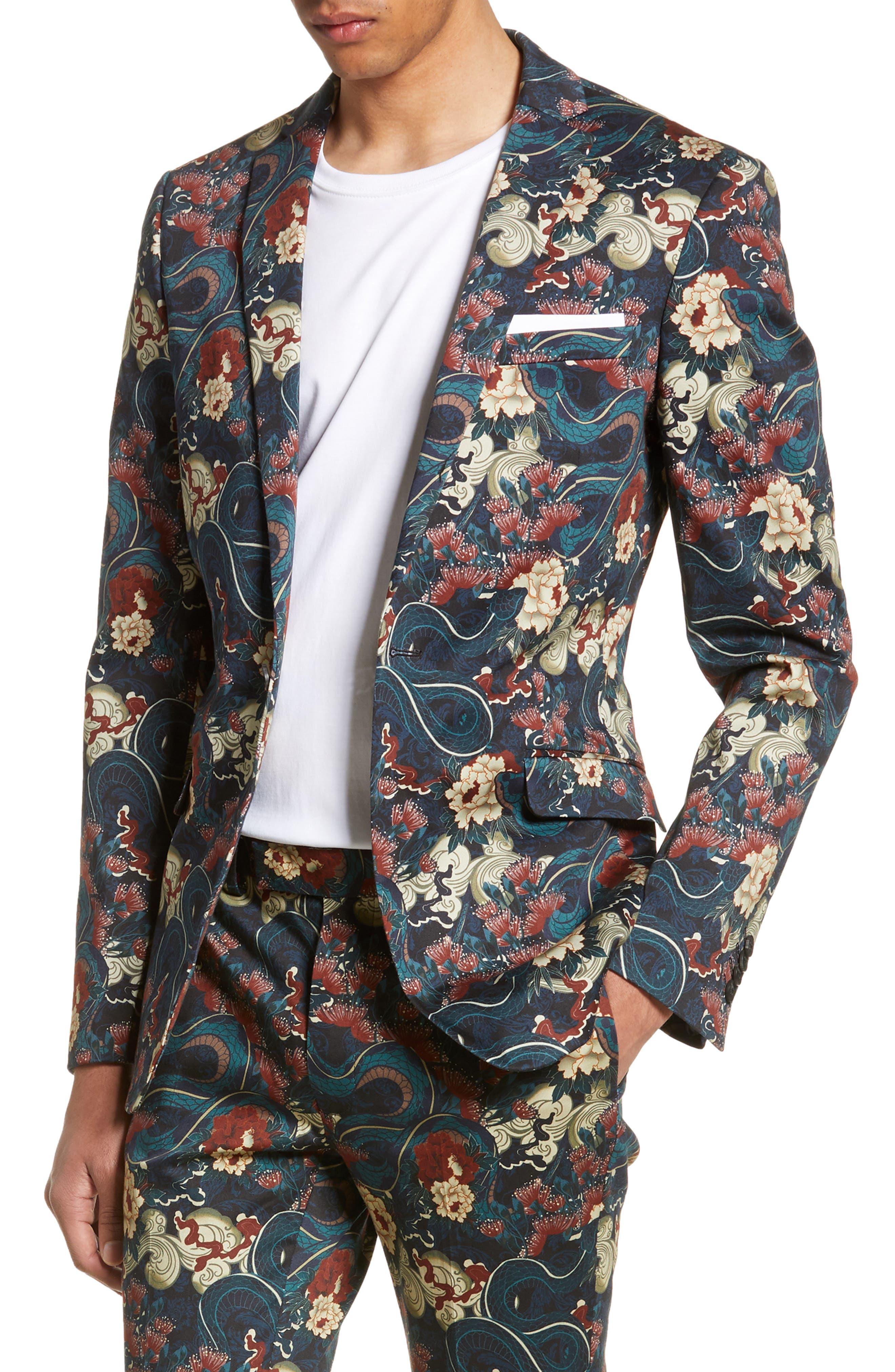 Skinny Fit Japan Print Suit Jacket, Main, color, BLACK