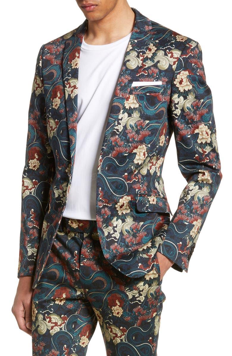 TOPMAN Skinny Fit Japan Print Suit Jacket, Main, color, 001