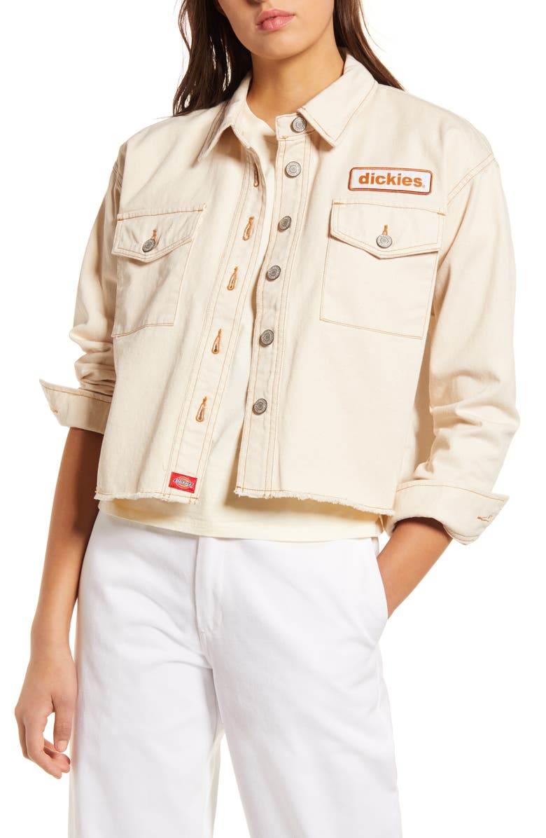 DICKIES Logo Patch Crop Cotton Trucker Jacket, Main, color, 900