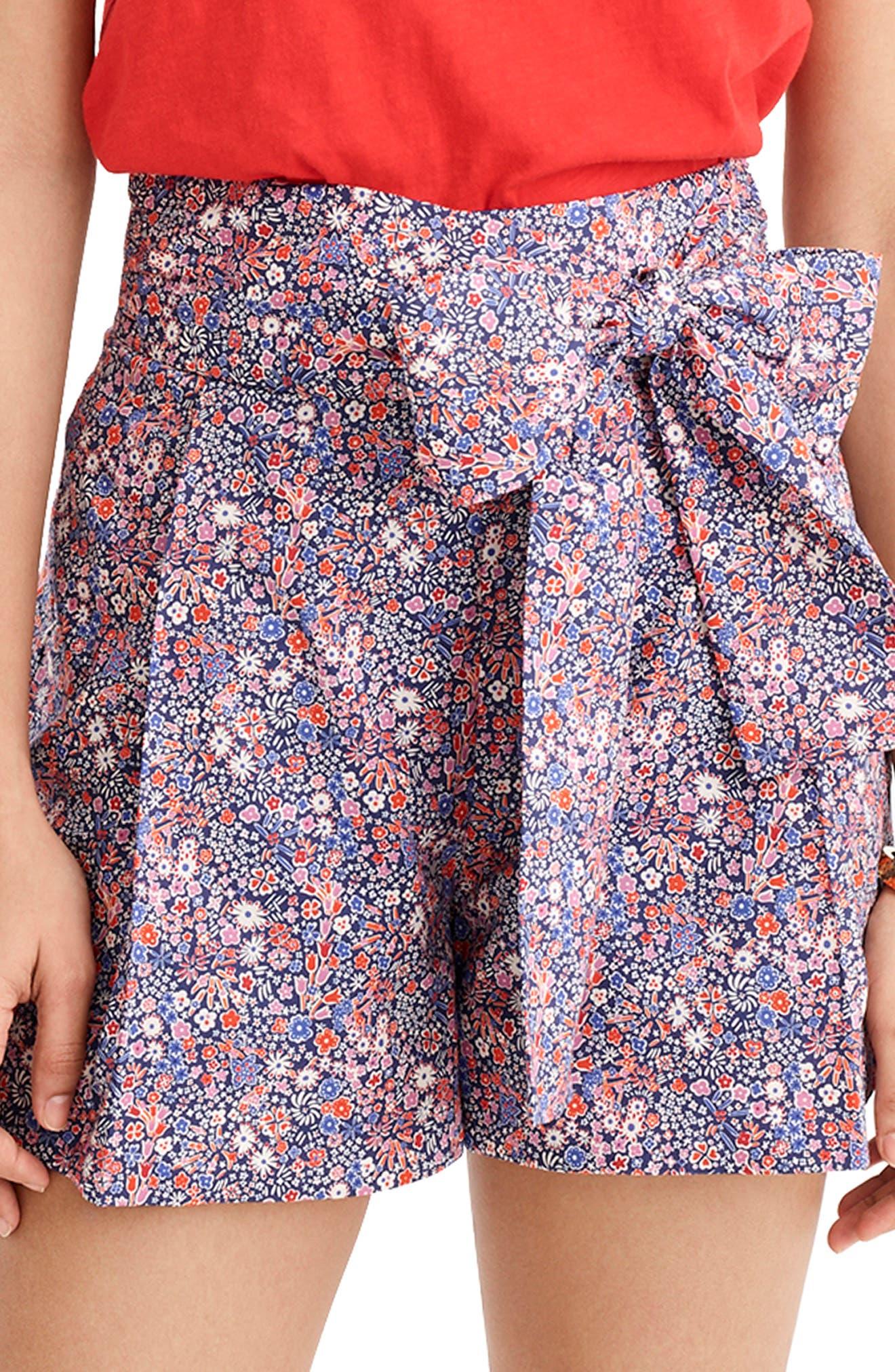 ,                             Liberty<sup>®</sup> Tana Lawn Tie Waist Shorts,                             Main thumbnail 1, color,                             DEEP BLUE MULTI