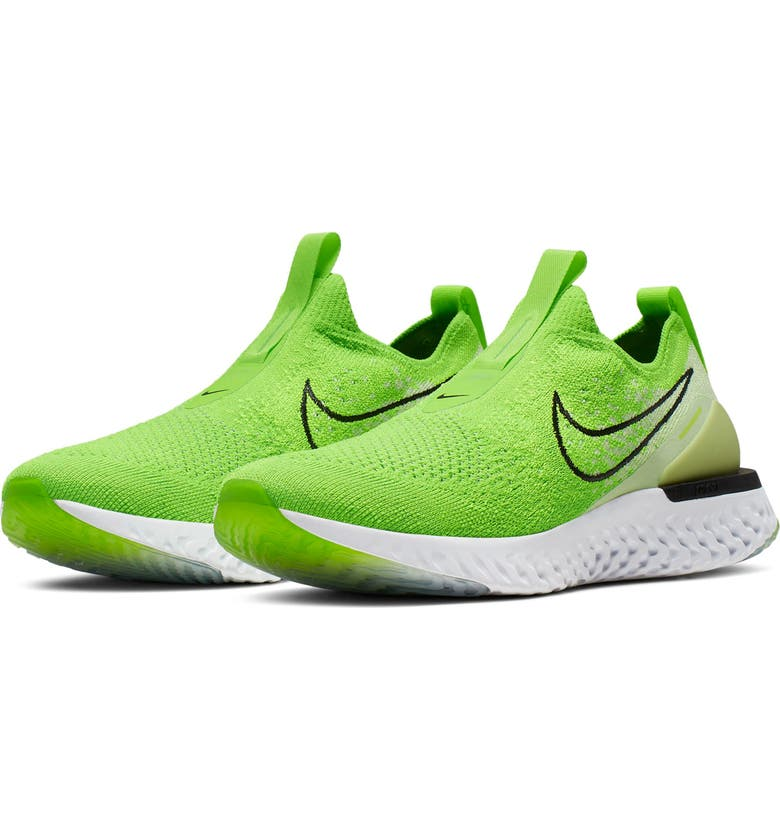 NIKE Epic React Flyknit Running Shoe, Main, color, ELECTRIC GREEN/ BLACK/ VIOLET