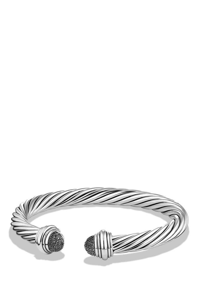 DAVID YURMAN Cable Classics Bracelet, 7mm, Main, color, SILVER/ BLACK DIAMOND