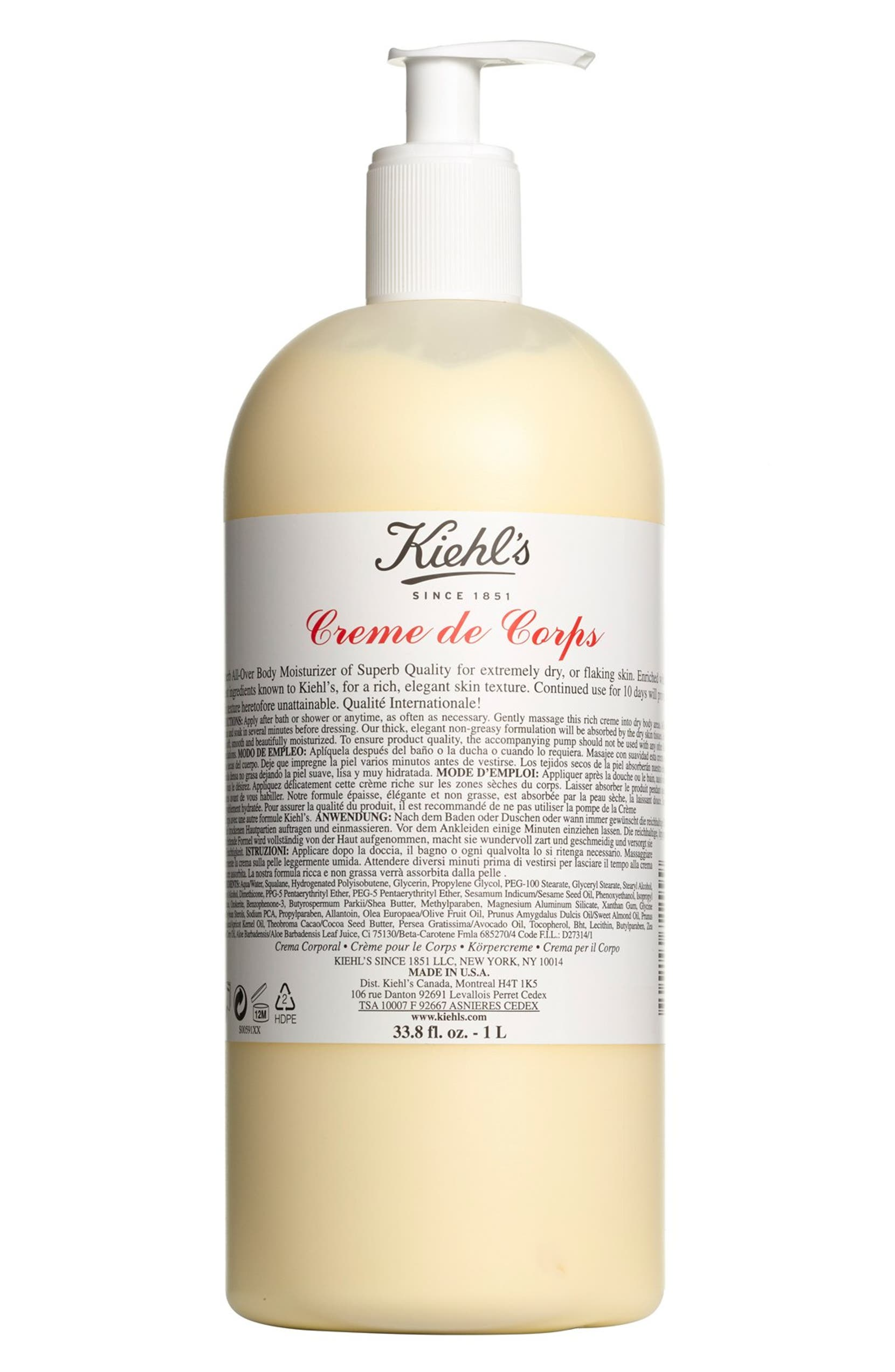 KIEHL'S SINCE 1851 Jumbo Creme de Corps Bottle with Pump, Alternate, color, NO COLOR