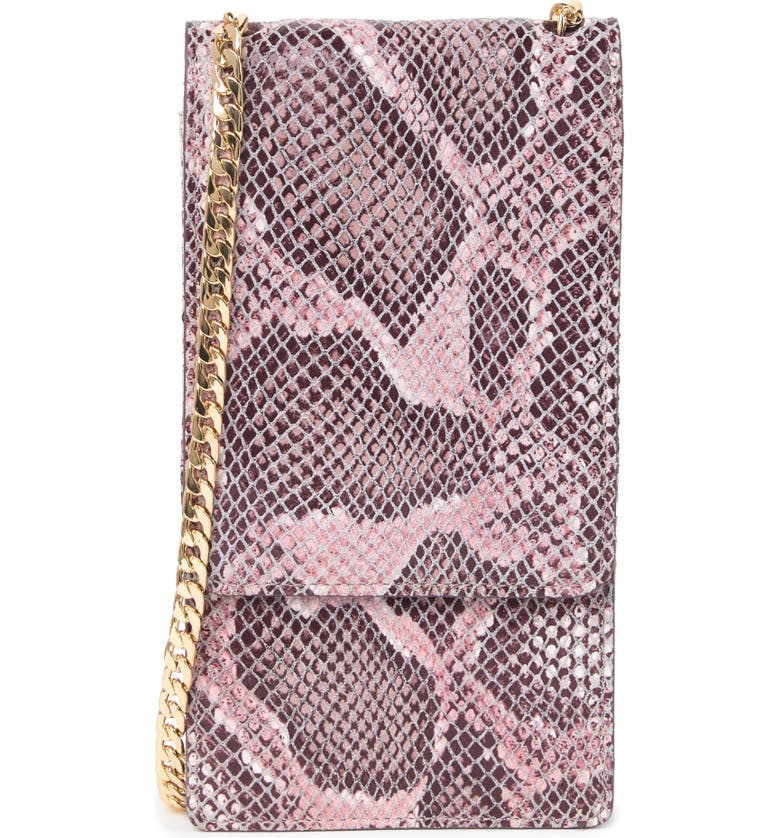 NORDSTROM Margaux Snakeskin Print Leather Wallet on a Chain, Main, color, PINK CAKE SNAKE