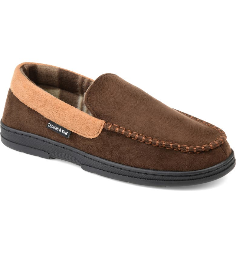 THOMAS & VINE Sterling Moccasin Slipper, Main, color, BROWN FAUX SUEDE