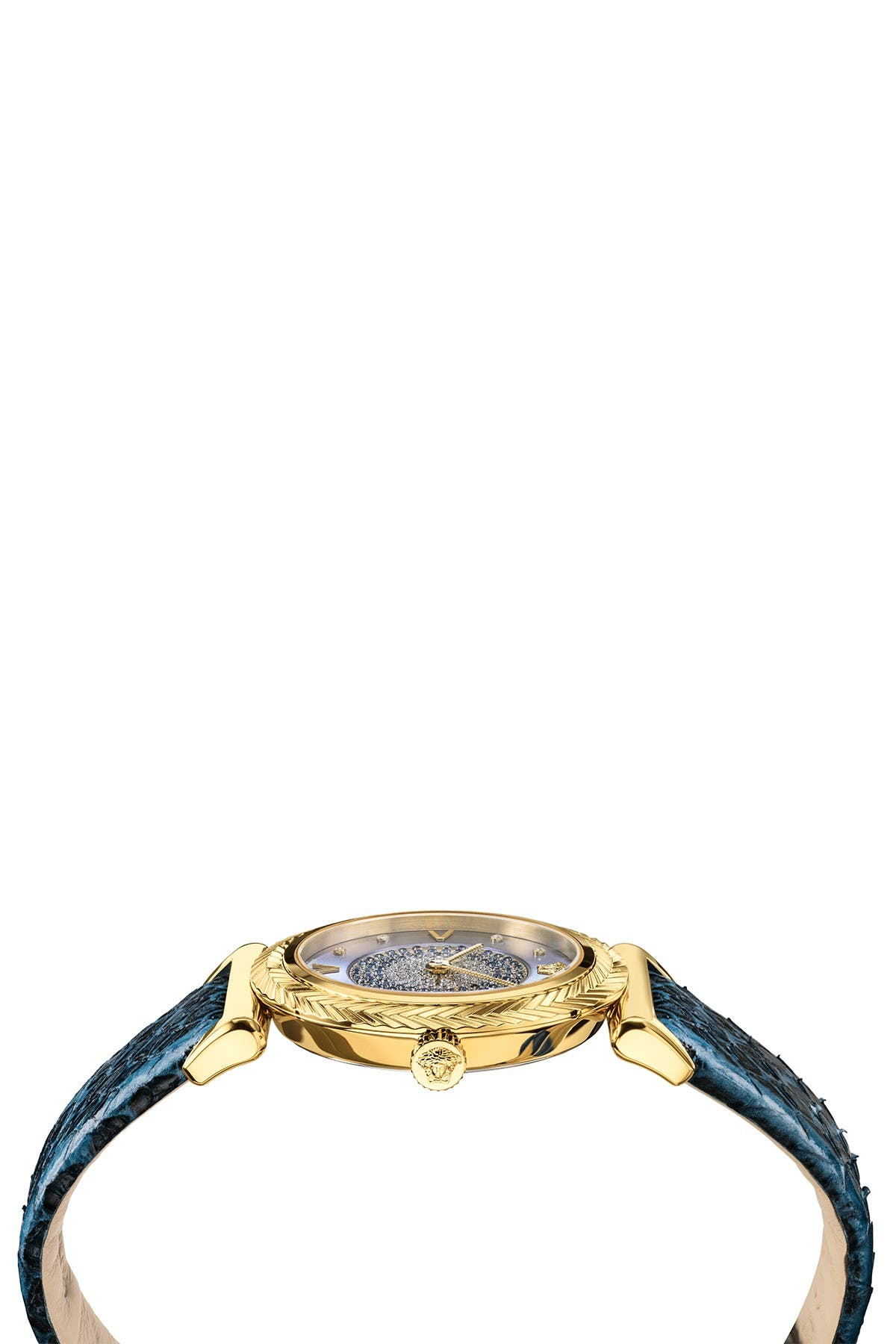 Image of Versace Women's V-Motif Snake Embossed Leather Strap Watch, 35mm