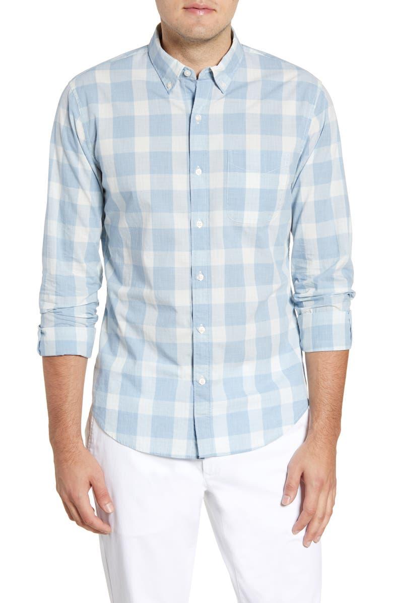 BONOBOS Summer Weight Slim Fit Check Shirt, Main, color, MULE PLAID STEEL BLUE HTHR