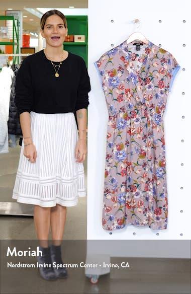 Floral Print Faux Wrap Midi Dress, sales video thumbnail