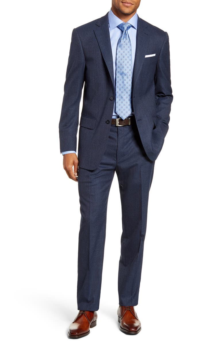 HART SCHAFFNER MARX Classic Fit Solid Stretch Wool Suit, Main, color, DARK BLUE
