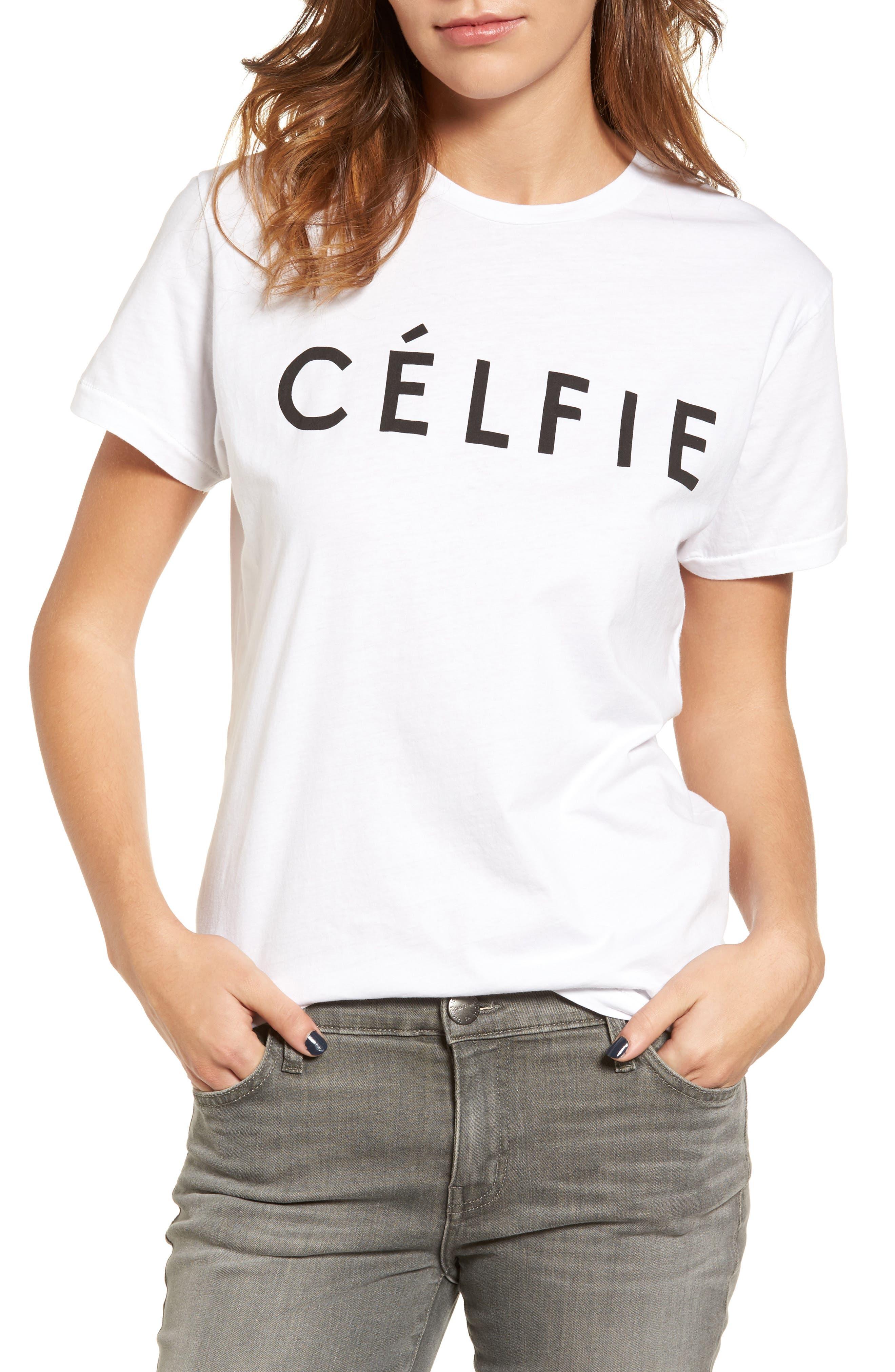 ,                             'Célfie' Graphic Tee,                             Main thumbnail 12, color,                             100