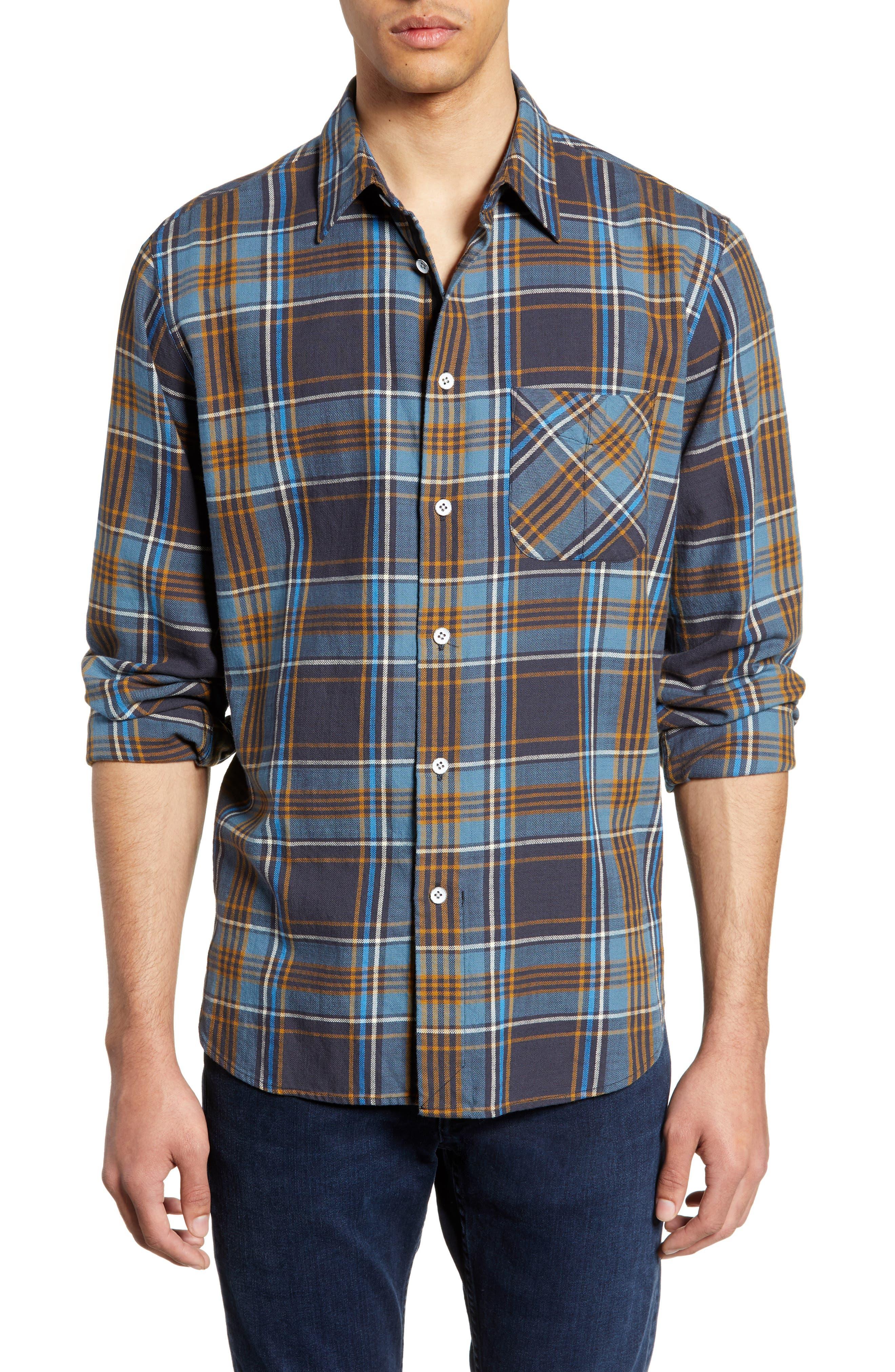 Rag & Bone Fit 3 Regular Fit Beach Shirt, Blue