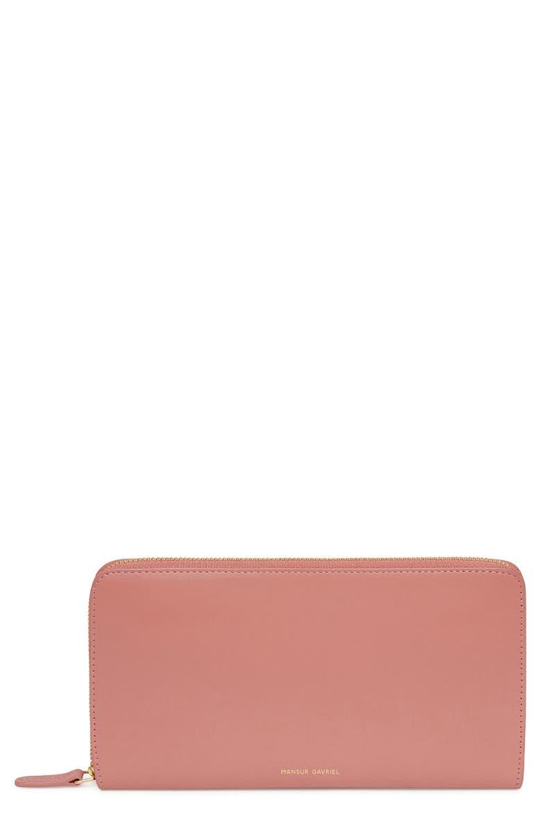 MANSUR GAVRIEL Leather Continental Wallet, Main, color, BLUSH