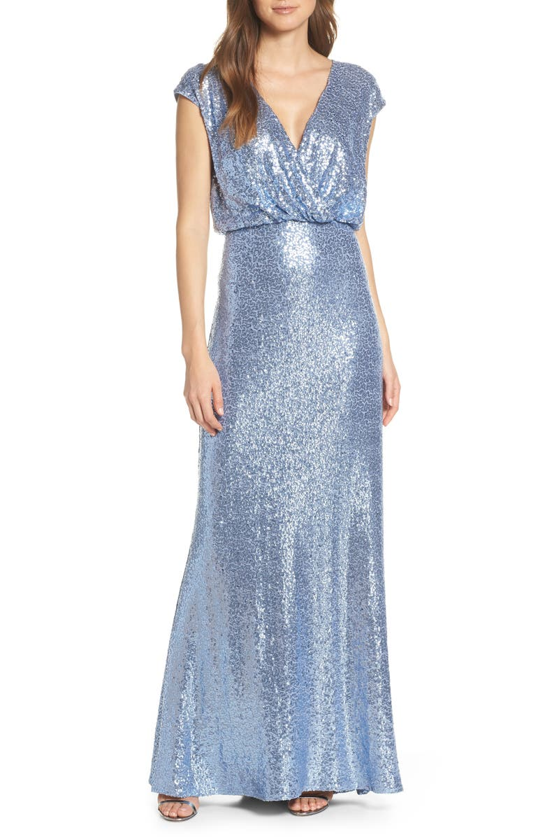 TADASHI SHOJI Sequin Lace Evening Dress, Main, color, CADET BLUE