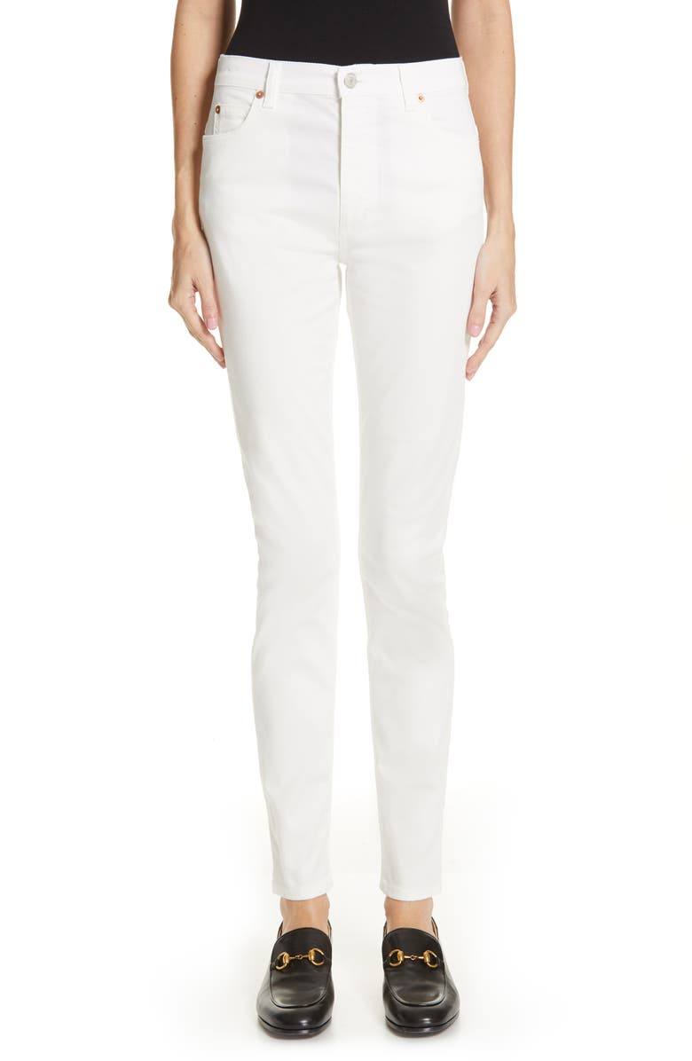 GUCCI High Waist Skinny Jeans, Main, color, 141