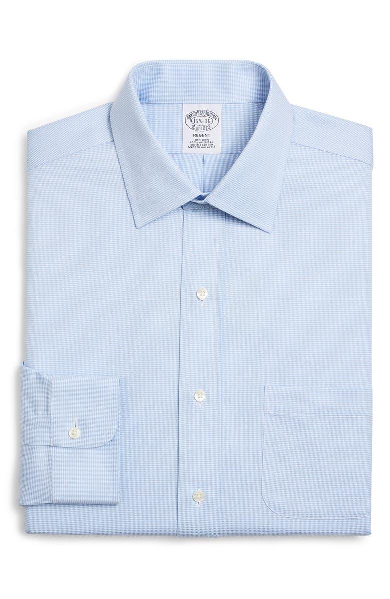 BROOKS BROTHERS Regular Fit Solid Dress Shirt, Main, color, VISTA BLUE