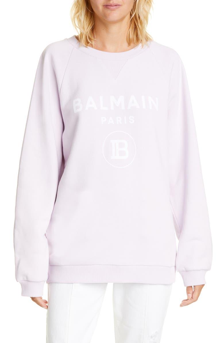 BALMAIN Logo Cotton Sweatshirt, Main, color, LILAS/BLANC