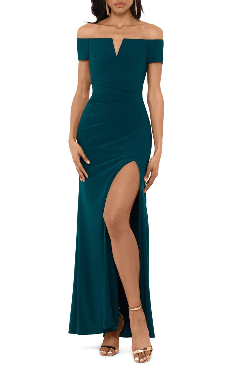 XSCAPE Off the Shoulder Side Slit Gown, Main, color, NEO EMERALD