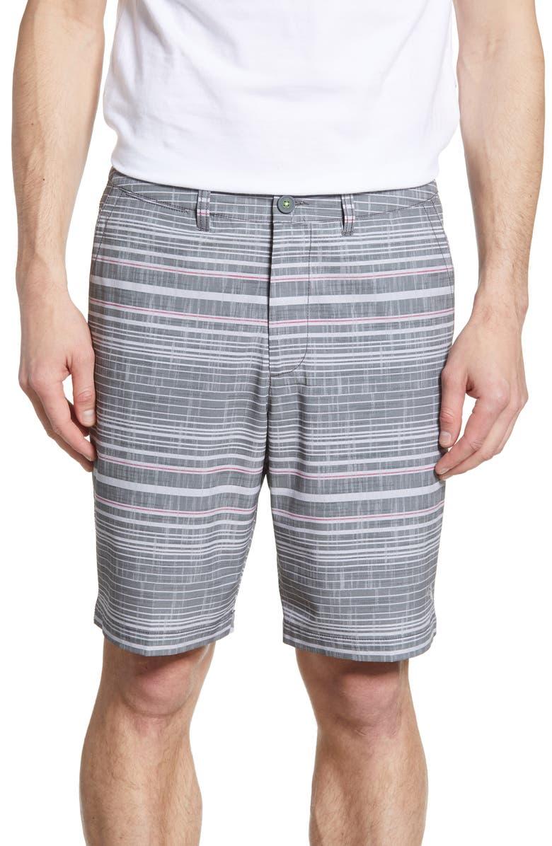 TOMMY BAHAMA Cayman Sarzana Stripe Hybrid Board Shorts, Main, color, BLACK