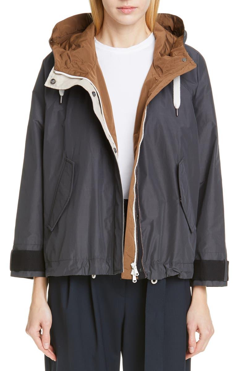 BRUNELLO CUCINELLI Monili Trim Hooded Taffeta Jacket, Main, color, GRAPHITE