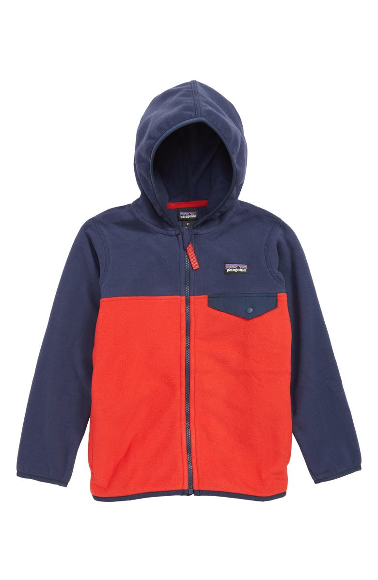 PATAGONIA Micro D<sup>®</sup> Snap-T<sup>®</sup> Hooded Fleece Jacket, Main, color, FIRE