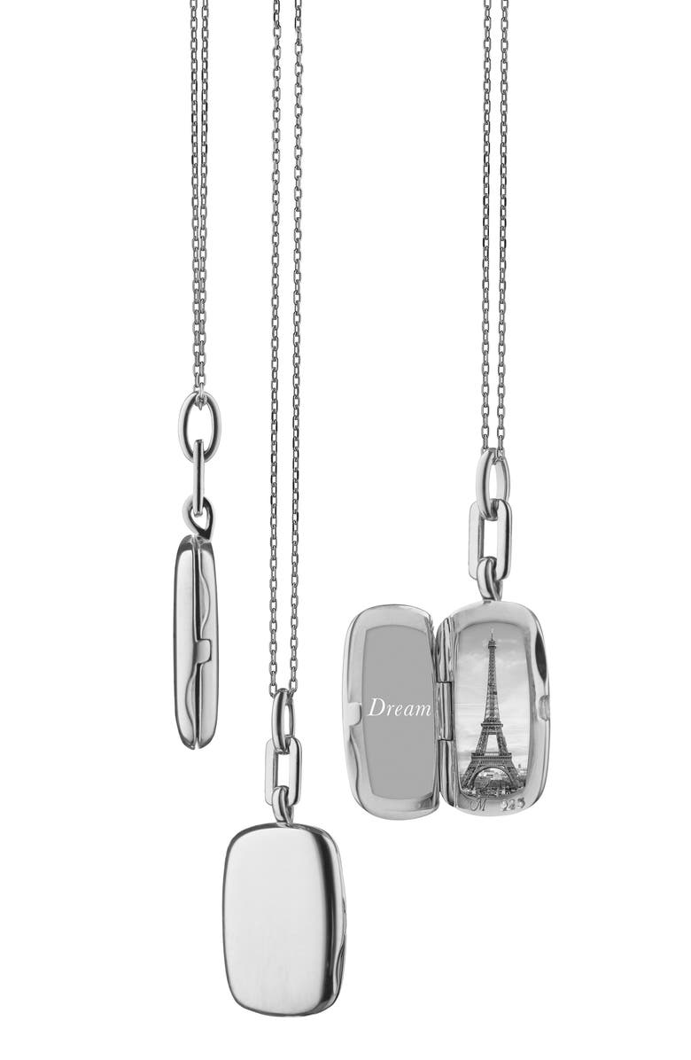 MONICA RICH KOSANN Slim Rectangular Locket Necklace, Main, color, STERLING SILVER