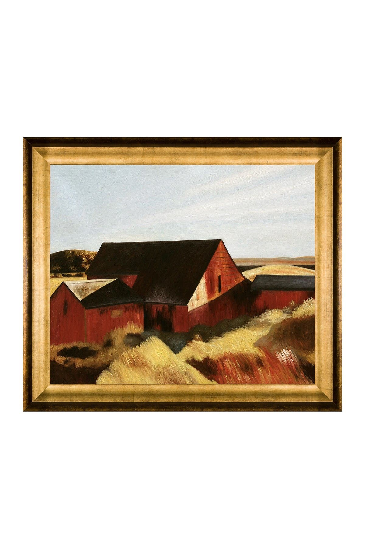 """Image of Overstock Art Cobb's Barns, South Truro, 1933 by Edward Hopper Framed Hand Painted Oil Reproduction - 29"""" x 25"""""""