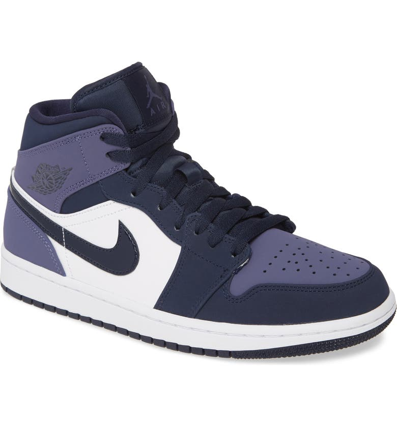 NIKE Air Jordan 1 Mid Sneaker, Main, color, OBSIDIAN/ SANDED PURPLE/ WHITE