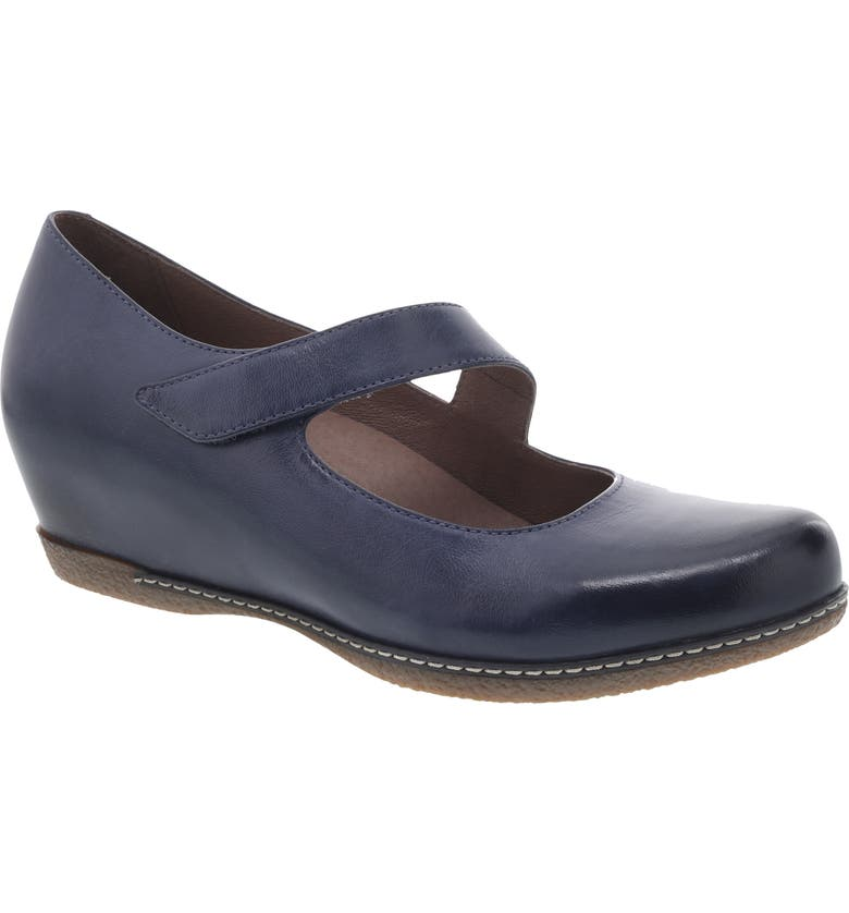DANSKO Lanie Mary Jane, Main, color, BLUE BURNISHED NUBUCK LEATHER
