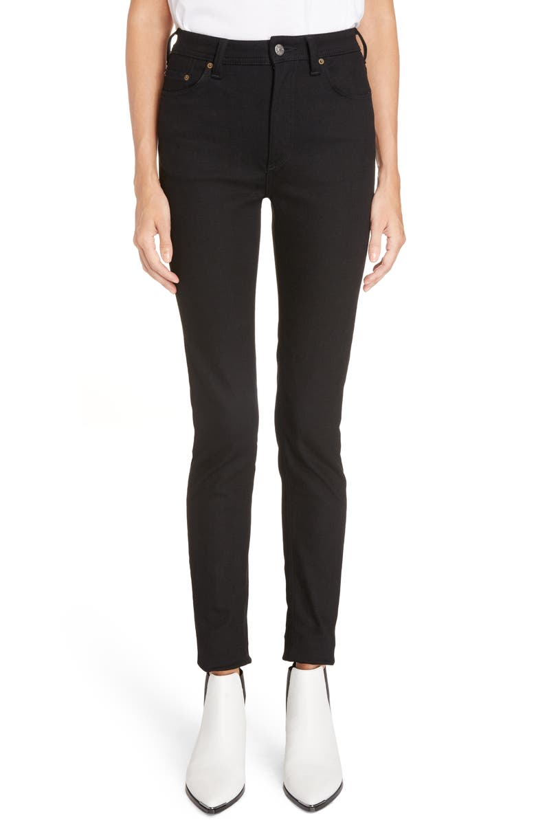 ACNE STUDIOS Peg High Waist Skinny Jeans, Main, color, BLACK