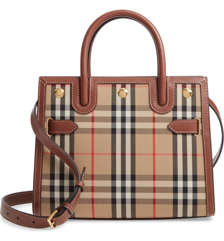 BURBERRY Small Title Double Handle Leather & Canvas Bag, Main, color, 250