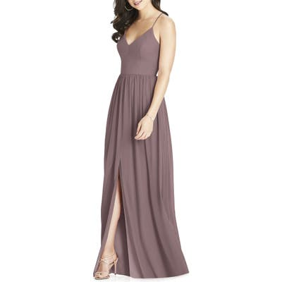 Dessy Collection Spaghetti Strap Chiffon Gown, Brown