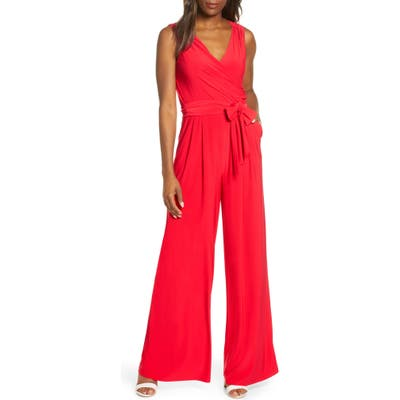 Eliza J Sleevless Wrap Bodice Jumpsuit, Red
