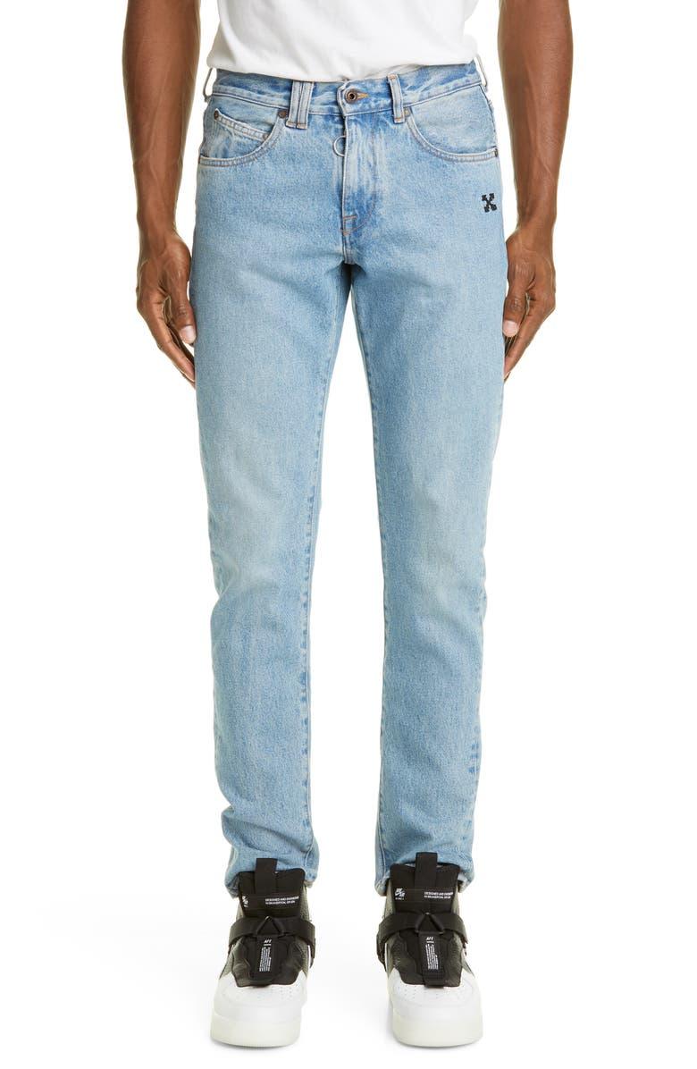OFF-WHITE Slim Fit Jeans, Main, color, BLEACH BLUE