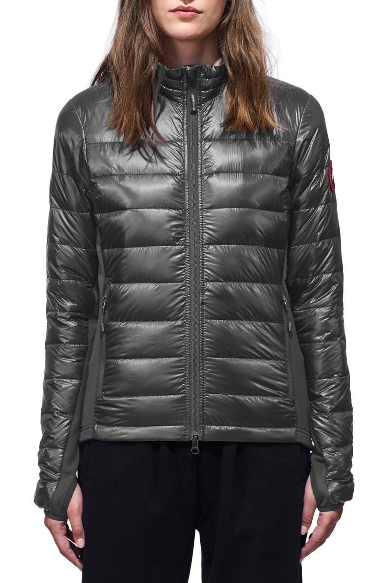 CANADA GOOSE 'Hybridge Lite' Slim Fit Mixed Media Down Jacket, Main, color, S GRAPHITE/ L BLACK