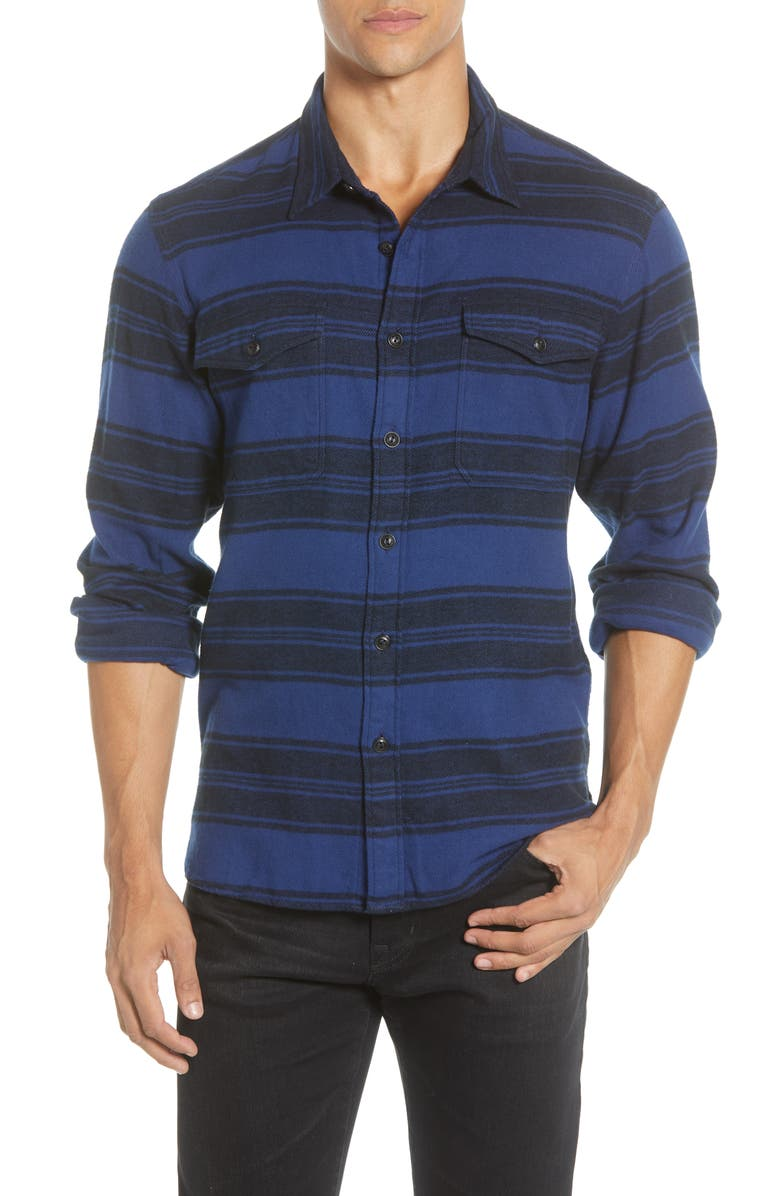 MADEWELL Blanket Stripe Brushed Twill Shirt, Main, color, BLANKET STRIPE NIGHTFALL