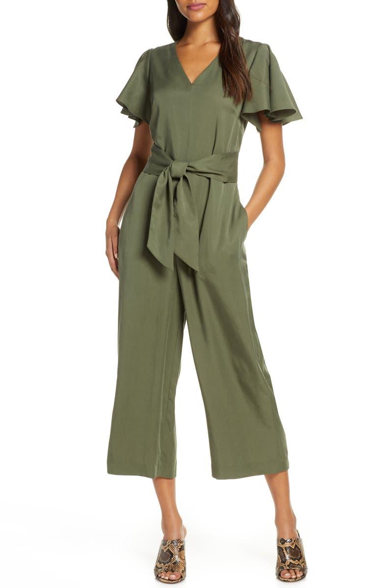 TAHARI Crop V-Neck Jumpsuit, Main, color, OLIVE