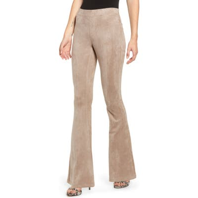 Blanknyc Faux Suede Flare Pull-On Pants, Beige