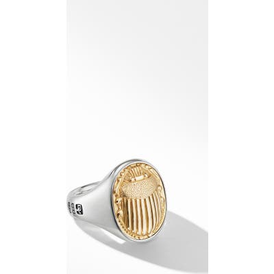 David Yurman Petrvs Scarab Signet Ring With 18K Yellow Gold