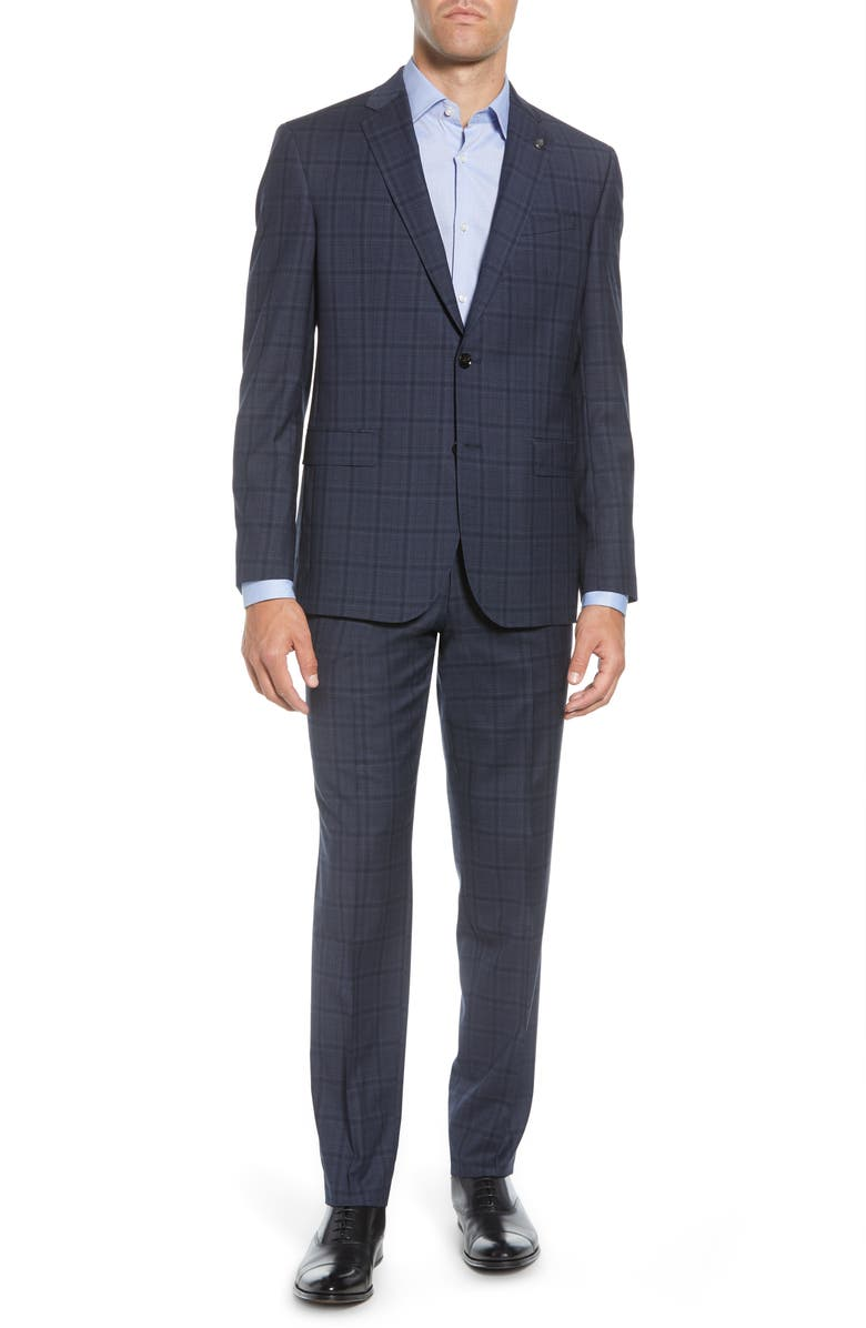 TED BAKER LONDON Jay Trim Fit Windowpane Stretch Wool Suit, Main, color, 400