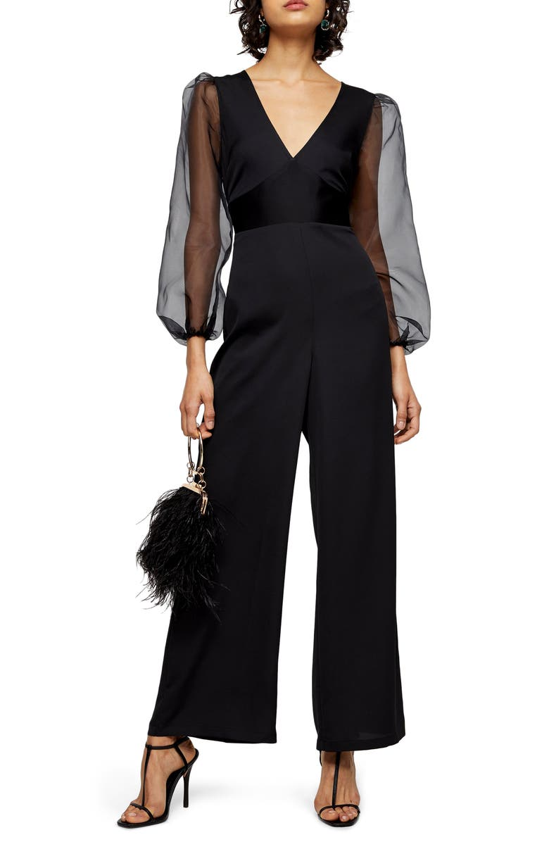 TOPSHOP Organza Long Sleeve Jumpsuit, Main, color, 001