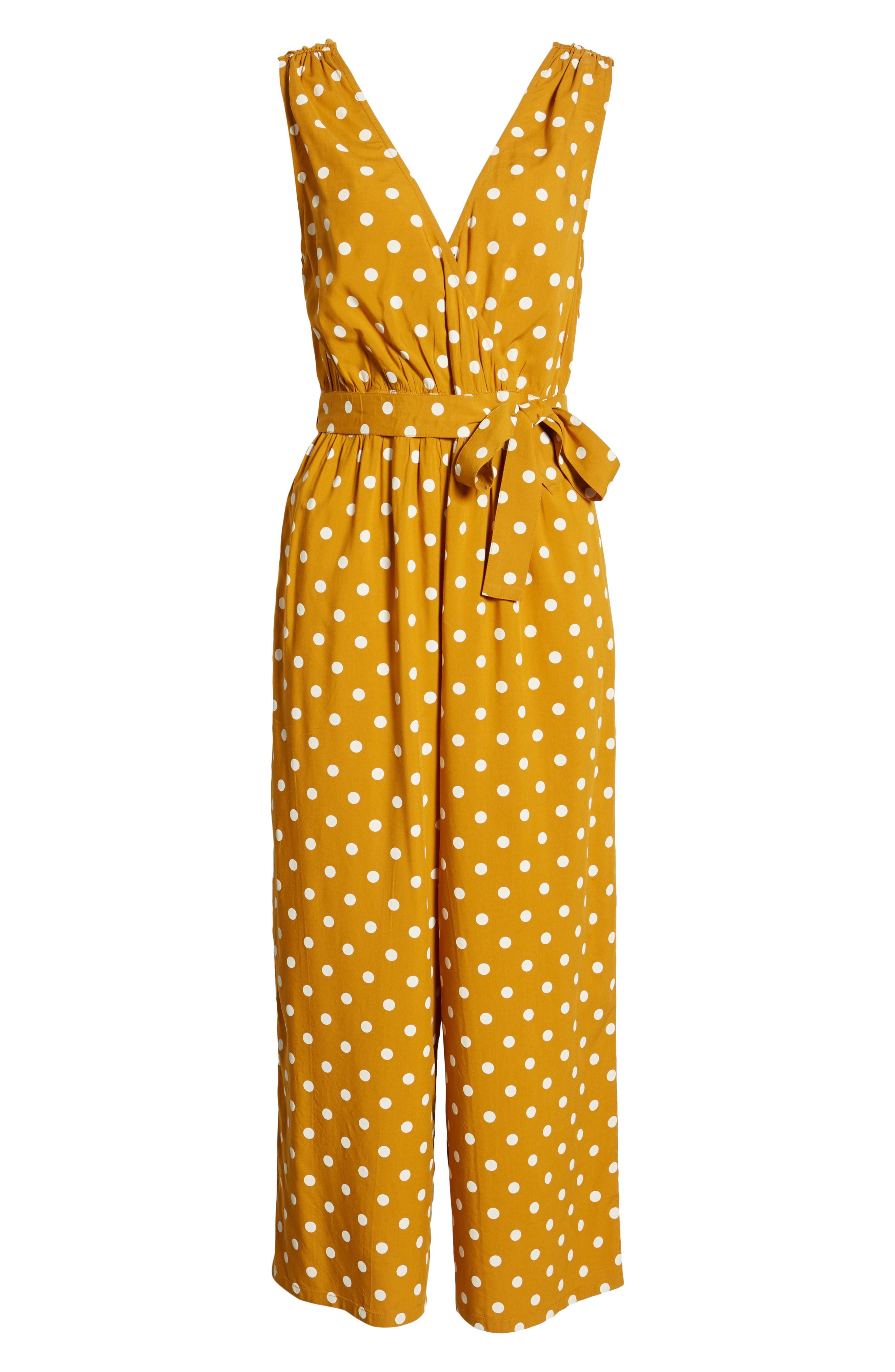 ,                             Polka Dot Jumpsuit,                             Alternate thumbnail 7, color,                             BROWN BUCKTHORN POLKA DOT