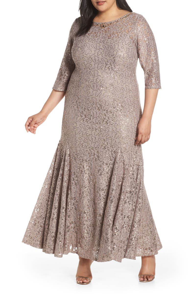 ALEX EVENINGS Beaded Neck Sequin Lace Evening Dress, Main, color, TAUPE