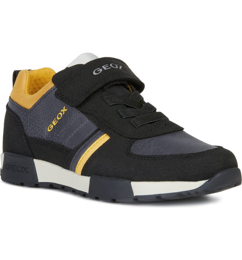 GEOX Alfier Sneaker, Main, color, BLACK/ DARK YELLOW