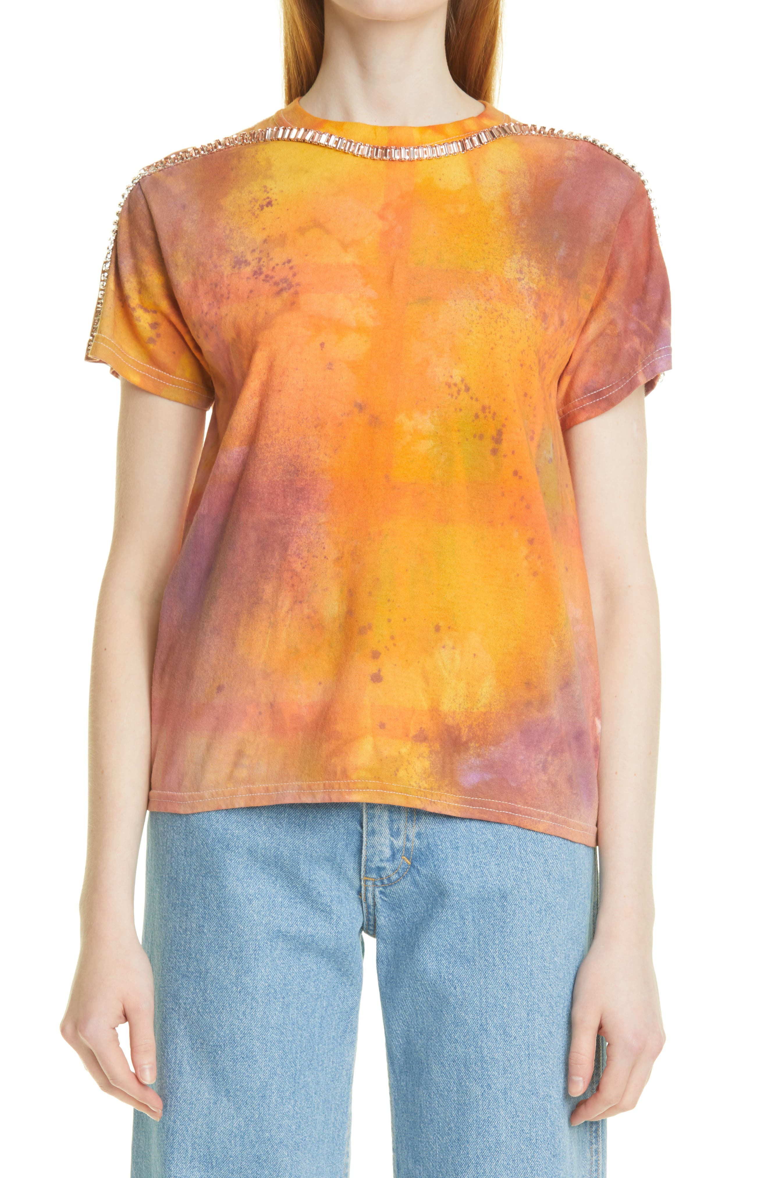 Sporty Spice Embellished Mixed Print T-Shirt