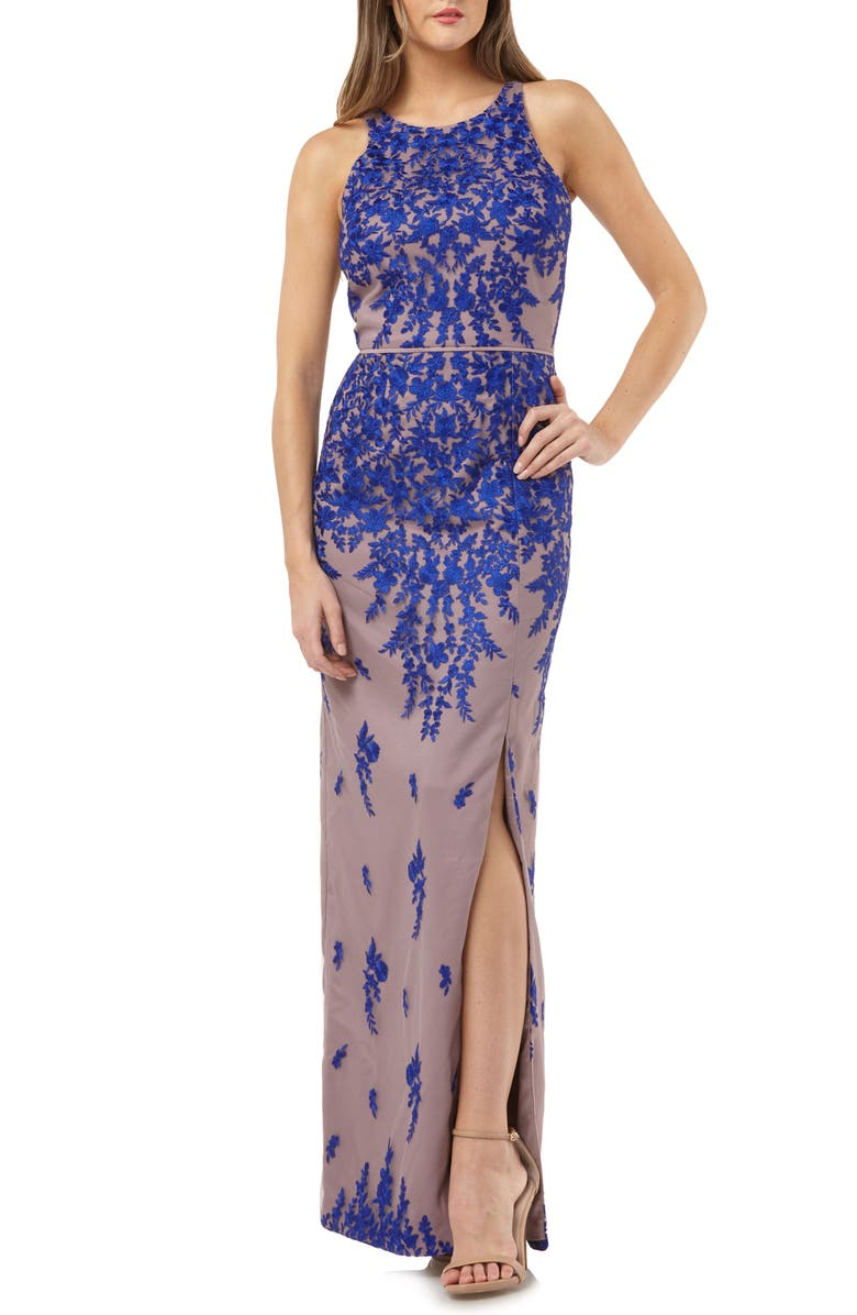 JS COLLECTIONS Floral Embroidered Mesh Evening Dress, Main, color, 250
