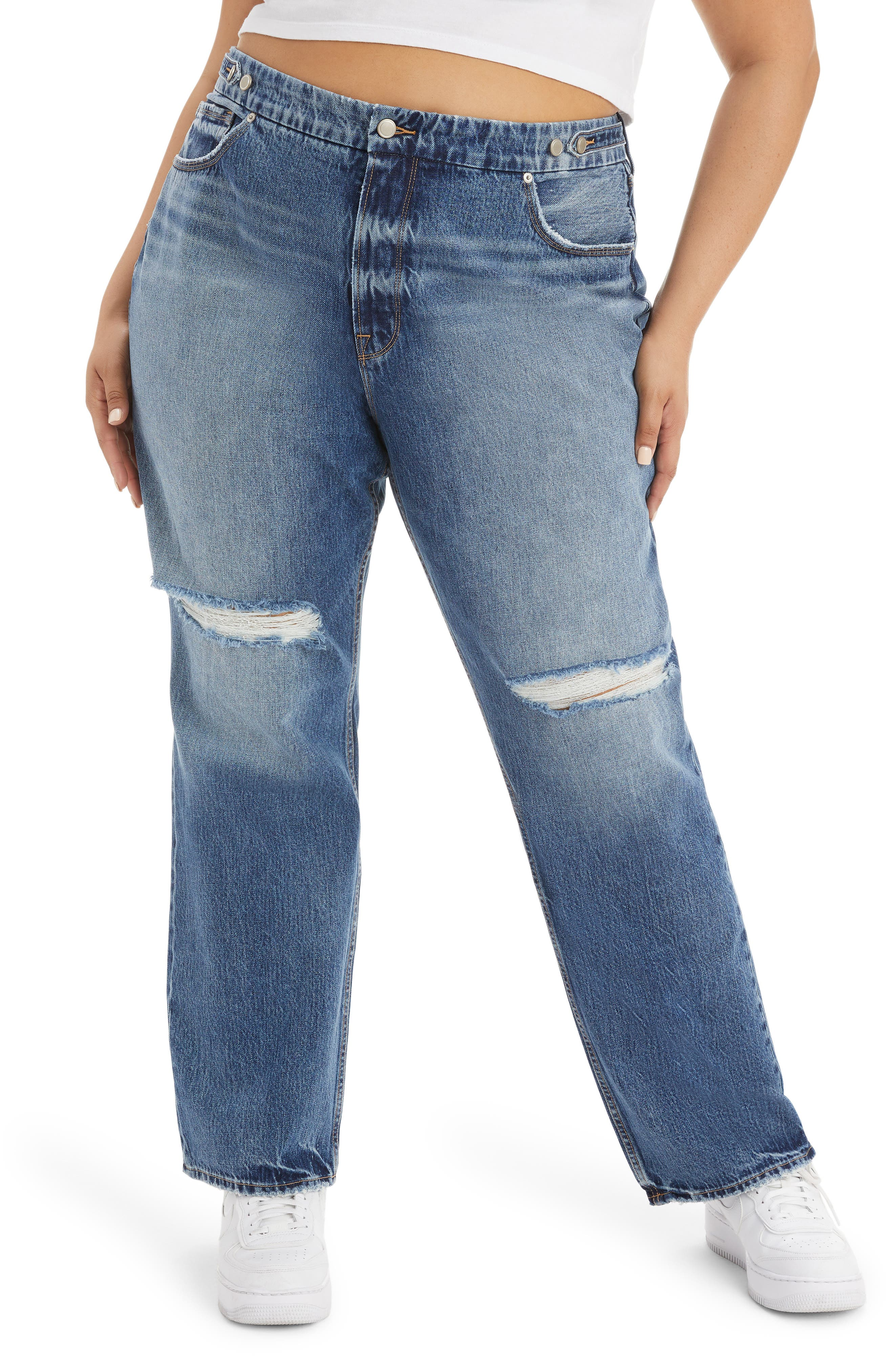 Good '90S Ripped Straight Leg Jeans