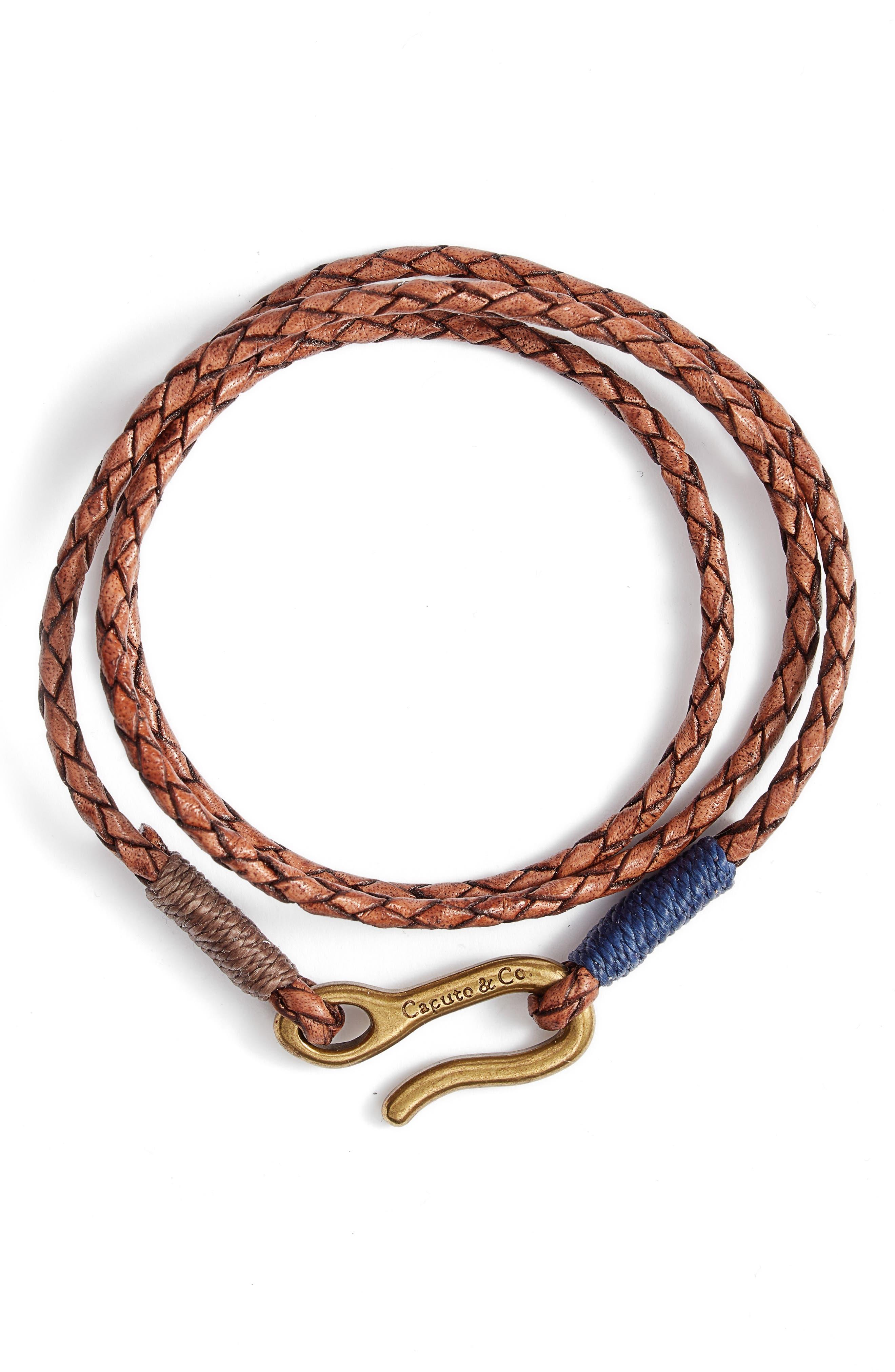 Men's Braided Leather Wrap Bracelet