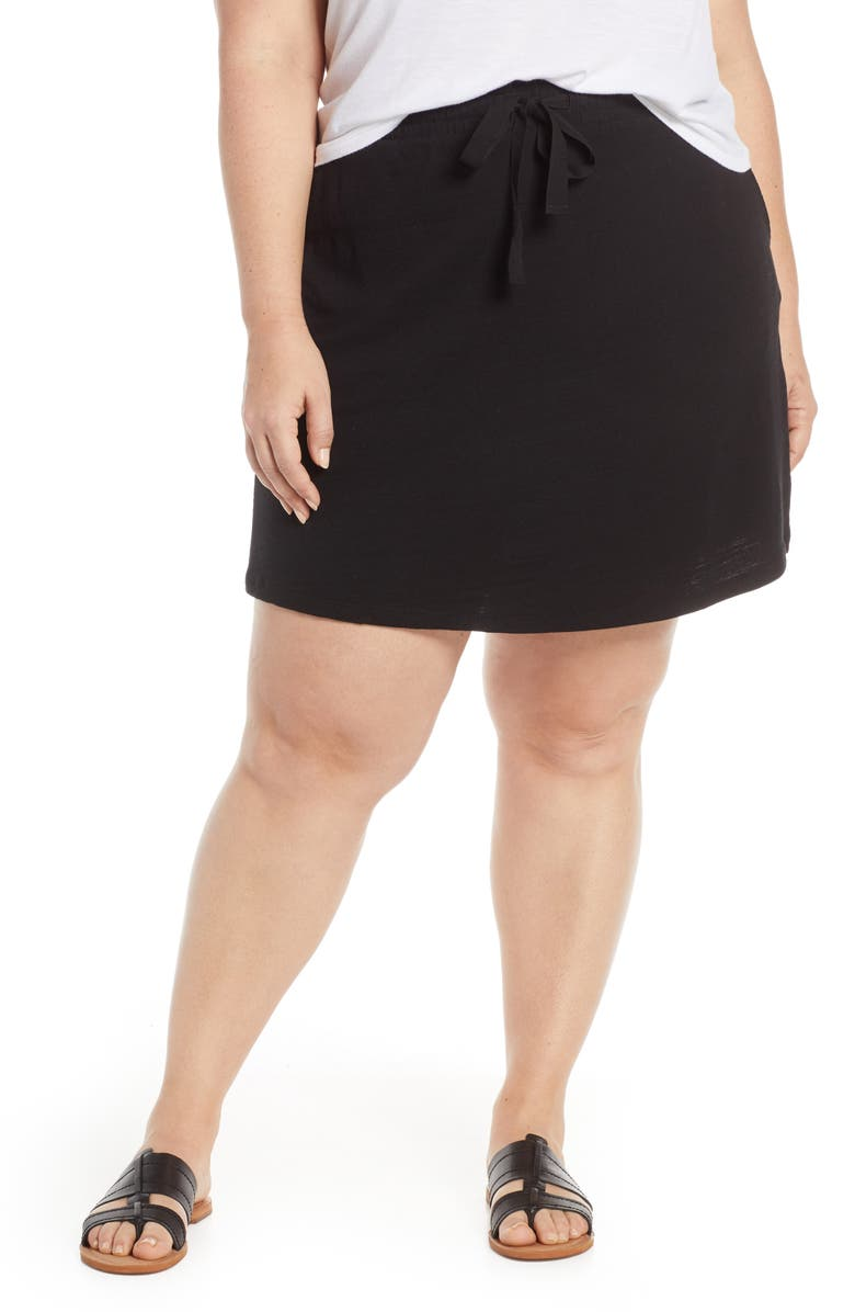 Caslon Tie Waist Knit Skirt Plus Size