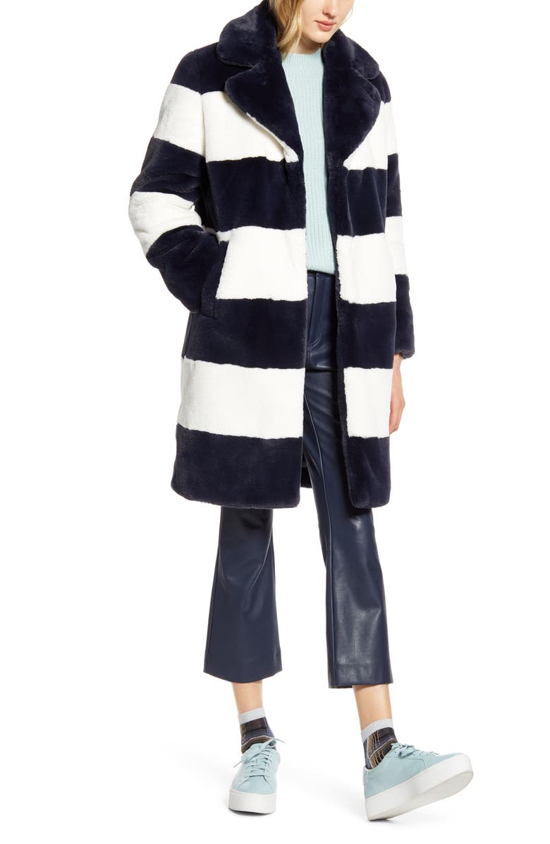 HALOGEN<SUP>®</SUP> x Atlantic-Pacific Stripe Faux Fur Coat, Main, color, 420