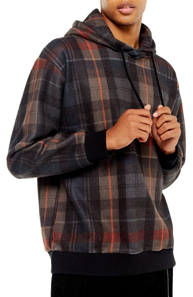 TOPMAN Plaid Flannel Pullover Hoodie, Main, color, BROWN MULTI